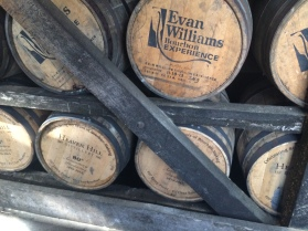 Whiskey barrels in the rickhouse at Heaven Hill